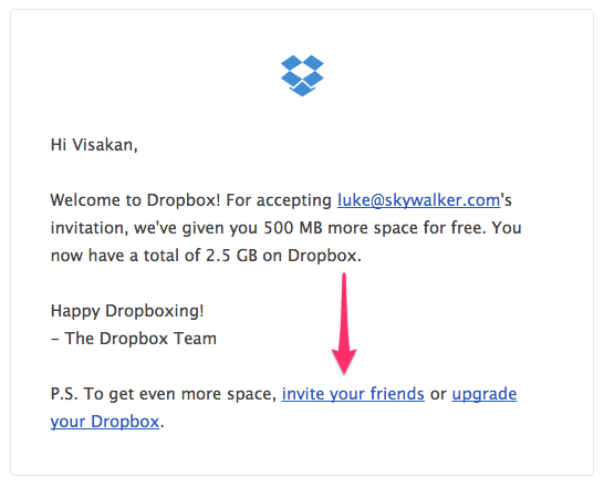 Dropbox Invite your friends email campaign