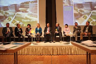 "Photo: Final panel discussion - ""Communicating Science & Innovations""- 2012: M. Cleassens, M. Satherstrom, N. Buitelaar, A. Gravier, H. Kunz, J. Gillies, H. Yokoyama, E. Kuznetsov, S. Naumov"