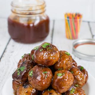 Honey Sriracha Barbecue Meatballs.