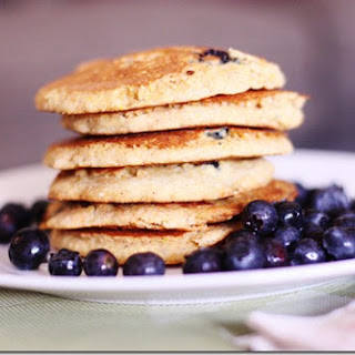 Lemon Cornmeal Blueberry Pancakes (vegan, gluten free)