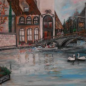 Swan Song by Rhonda Lee - Painting All Painting ( swans, rokinronda, bridge, landscape, boat, painting, oil )
