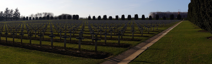 Photo: Crosses marking the graves of WWI soldiers at the Douaumont ossuary