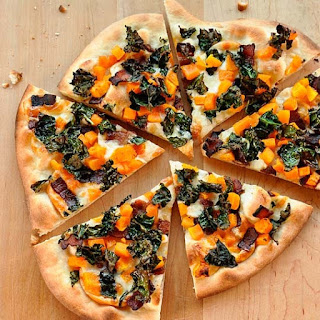 Pizza with Crispy Kale, Butternut Squash, Bacon & Smoked Mozzarella.