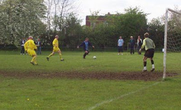 Photo: 01/05/05 v Ex Leeds Utd XI (Charity Match) 3-2 - Brendan Ormsby chases back as Brian Coutts crosses - contributed by Brian Coutts