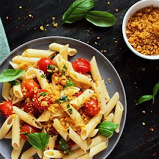 Organic Penne Pasta with Vegan Cheesey Chickpea Crumble.
