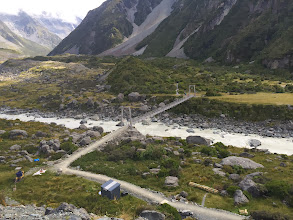 Photo: The next morning I took the Hooker Valley track, which approached Mt. Cook and the Hooker Glacier/Hooker Lake below it. This walk had 3 swing bridges...