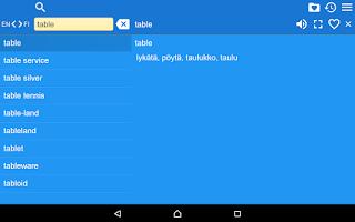 Screenshot of English Finnish Dictionary Fr