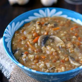 Creamy Lentil Wild Rice Mushroom Soup.