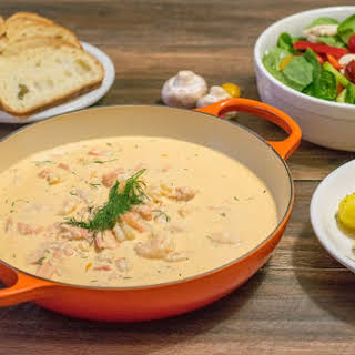 Salmon (and Shrimp) Poached in a Lobster Cream Sauce (Orrholmens Laxgryta).
