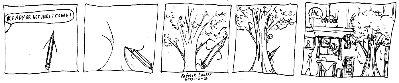 A HANGMEN strip about hiding behind a tree in someone's dining room.