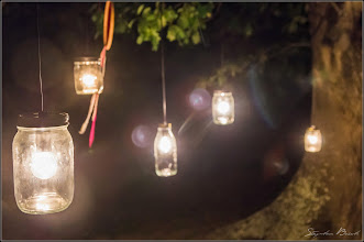 Photo: Homemade jar lights in the Oak tree