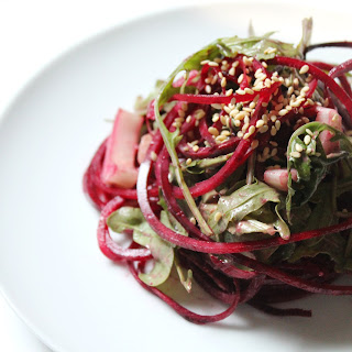 Raw Balsamic Tahini Beet Noodles Recipe