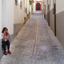 The Path to Comunication by Joatan Berbel - City,  Street & Park  Street Scenes ( spain, granada, andalucia, street, colorfull, pathway, style, people, colorful )