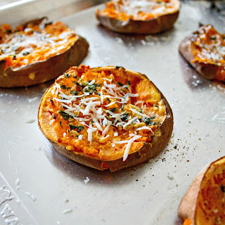 Smashed Sweet Potatoes with Garlic Butter.