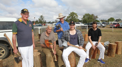 The woodchop exhibition was again a popular  feature of the Wee Waa Show this year. From left,  axemen Jim Barker, Barraba, Philip Melbourne, Narrabri,  Lachlan Barker, Gunnedah, Jock Smith and Trenton Woolcott, both of Narrabri,  entertained the audience with an exhibition of the sport.