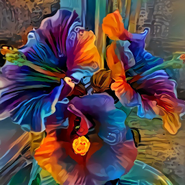 3 Hibiscus flowers by Cassy 67 - Digital Art Things ( digital, love, harmony, flowers, abstract art, abstract, creative, digital art, flower, psychedelic, modern, light, hibiscus, energy )