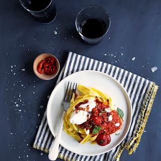 Spicy Fresh Chile, Tomato, & Bacon Pasta with Ricotta.