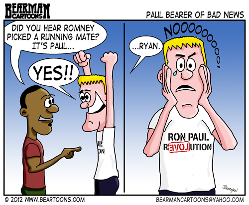 Photo: Yesterday's Cartoon Biggie Sized for your enjoyment  http://beartoons.com/2012/08/12/romney-picks-the-other-paul/  #romneyryan2012   #paulryan   #ronpaul