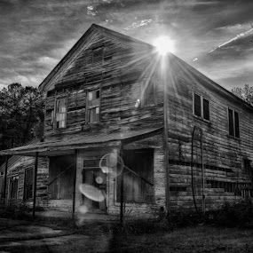 Darker Days by Brent Sharp - Buildings & Architecture Decaying & Abandoned ( wooden, hdr, black and white, lens flare, abandoned, decay,  )