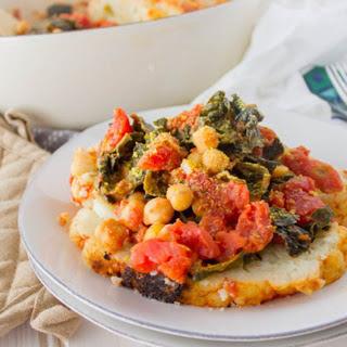 Braised Cauliflower With Chickpeas, Tomato, and Kale [Vegan].