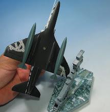 Photo: ガンプラ用アクションベースに、ネオジム磁石を介して固定。