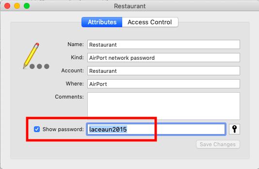 "WiFi password is displayed in the ""Show password"" field - Mac"