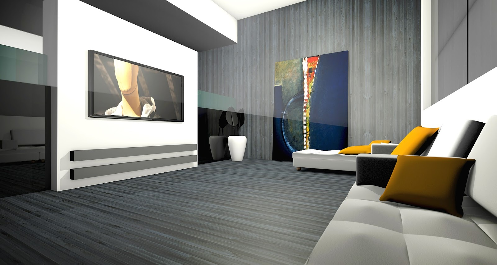 3D design of a living room. Couch with pillows facing a tv mounted on a wall