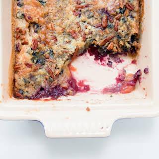 Peach & Blueberry Dump Cake with Pecans.