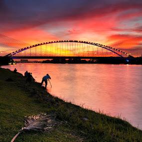 after day by Azri Suratmin - Landscapes Sunsets & Sunrises ( pcw75, red, jambatan sri saujana, azri, sunset, putrajaya, malaysia, azrisuratmin, pwc75,  )