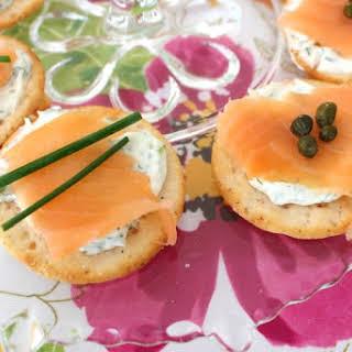 Smoked Salmon Gluten-Free Breton Bean Crackers Appetizer.