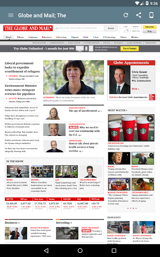 Canada Newspapers- screenshot