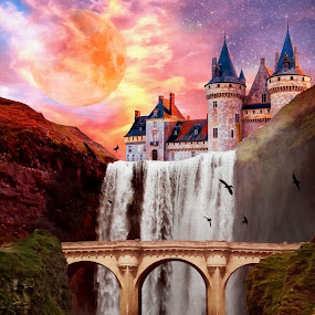 Moon Falls by Charlie Alolkoy - Illustration Places ( reflection, moon, stars, sunset, cliff, waterfall, castle, bridge, birds )