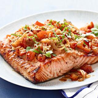Perfect Grilled Bruschetta Salmon.