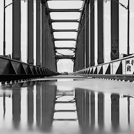 Reflection of the Bridge by Iva Marinić - Black & White Buildings & Architecture ( bride, nikon d, reflection, metal, perspective, construction, black and white, railway, photography, architecture )