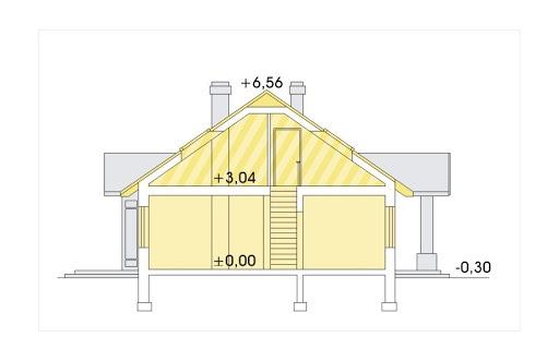 Angela wersja C z pojedynczym garażem z prawej wysuniętym - Przekrój