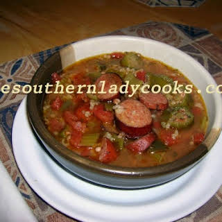 CROCK POT SMOKED SAUSAGE GUMBO.