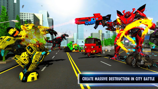 Tuk Tuk Auto Rickshaw Transform Dinosaur Robot screenshots 2