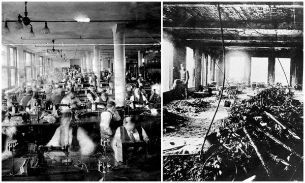 Photo documenting what the factory floor looked like before and after the fire.