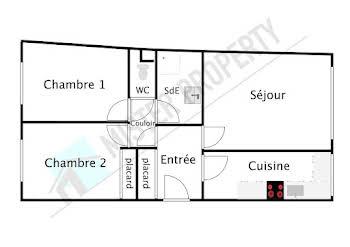 Appartement 3 pièces 54,71 m2