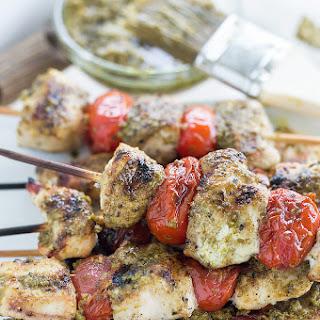 Greek Chicken Skewers With Pesto Sauce