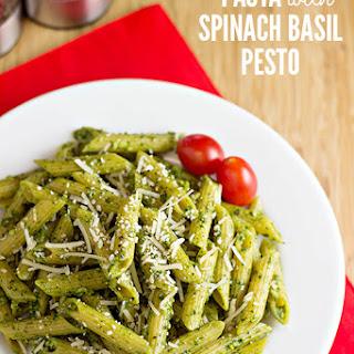 Pasta with Spinach Basil Pesto.