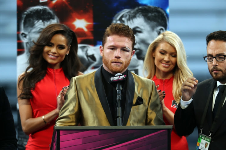 Boxer Saul Canelo Alvarez after defeating Gennady Golovkin talks at a press conference at T-Mobile Arena on September 15, 2018 in Las Vegas, Nevada.