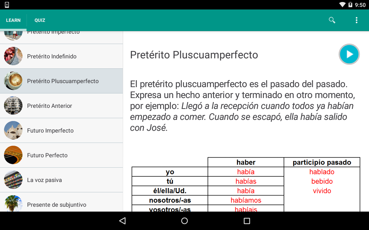 Spanish Grammar: Tenses- screenshot