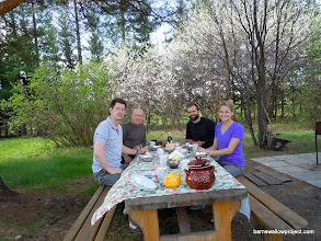 Photo: first lunch at the field station with Gennady and Nick