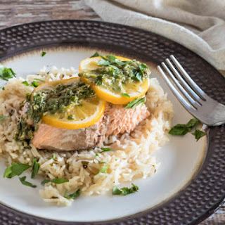 Pressure Cooker Salmon and Rice With Lemon Caper Chimichurri
