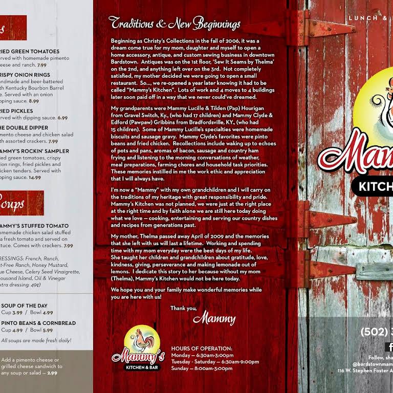 mammys kitchen and grill menu
