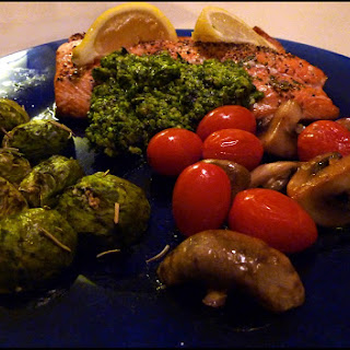 Paleo Baked Salmon with Basil-Walnut Pesto