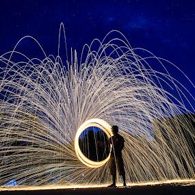 Fire Rain by Anuruddha Das - Abstract Light Painting ( steel wool, kolkata, india, steel, wool,  )
