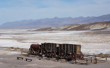 "Photo: Getting the finished product to market from the heart of Death Valley was a difficult task, and an efficient method had to be devised. The Harmony operation became famous through the use of large mule teams and double wagons which hauled borax the long overland route to Mojave.The romantic image of the ""20-mule team"" persists to this day and has become the symbol of the borax industry in this country."
