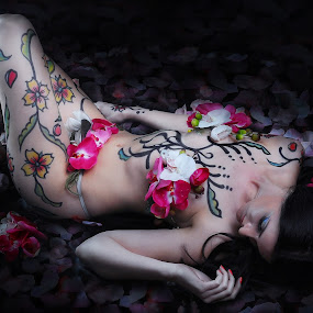 LAY ME ON THE BED OF PETALS by EUGENE CAASI - People Body Art/Tattoos